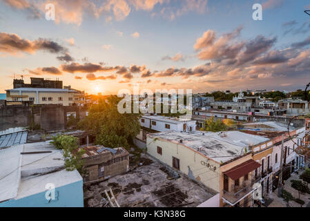 Colonial Zone (Ciudad Colonial), Santo Domingo, Dominican Republic. Cityscape at sunset. - Stock Photo