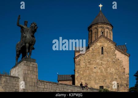 The equestrian statue of King Vakhtang Gorgasali near the Methehi church, Tbilisi, Georgia, Caucaus, Eurasia. - Stock Photo