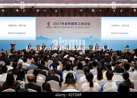 Xiamen, China's Fujian Province. 4th Sep, 2017. A panel discussion on connectivity is held during the BRICS Business - Stock Photo