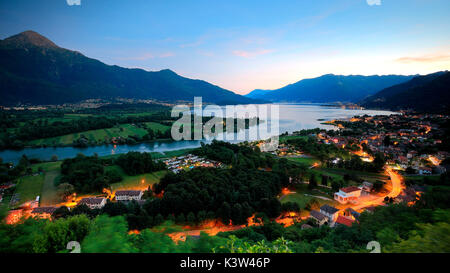 Sunset on Sorico, province of Como, Lombardy, Italy - Stock Photo
