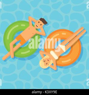 Man and woman floating on inflatable circles in a swimming pool - Stock Photo