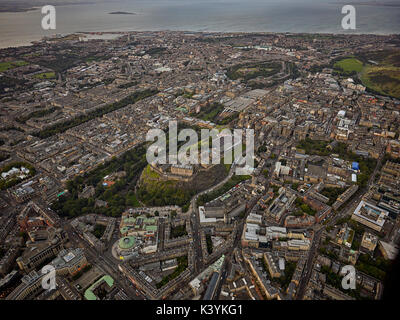 Aerial view of Edinburgh Castle during The Royal Edinburgh Military Tattoo as seen from the air - Stock Photo