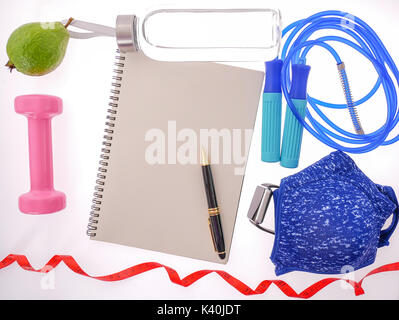 Sports Equipment with copy space on notebook for Presentations and Web Design. Space for Text Composition art image, - Stock Photo