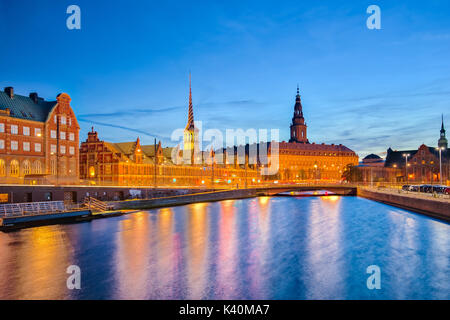 Copenhagen Cityscape with Christiansborg Palace at night in Copenhagen, Denmark. - Stock Photo