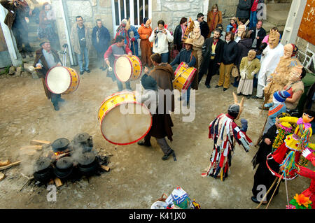 Drummers playing during the carnival in Lazarim, Beira Alta. Portugal - Stock Photo