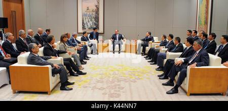 Xiamen, Fujian, China. 4th Sep, 2017. Egyptian President Abdel-Fattah al-Sisi attends the BRICS Business Forum in - Stock Photo
