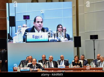 September 5, 2017 - Xiamen, Fujian, China - Egyptian President Abdel-Fattah al-Sisi at the Dialogue of Emerging - Stock Photo