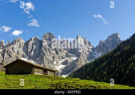 Val Venegia hut in front of Pale di San Martino di Castrozza - Stock Photo