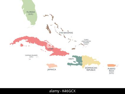 Greater Antilles political map. Vector illustration - Stock Photo