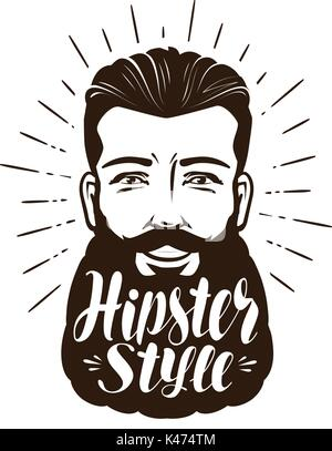 Portrait of happy bearded man. Hipster style concept. Lettering vector illustration - Stock Photo