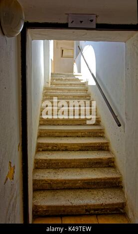 Old Stone Stairs Staircase With Iron Handrail - Stock Photo