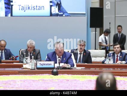 Xiamen, China's Fujian Province. 5th Sep, 2017. President of Tajikistan Emomali Rahmon speaks at the Dialogue of - Stock Photo