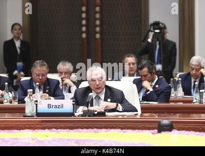 Xiamen, China's Fujian Province. 5th Sep, 2017. Brazilian President Michel Temer speaks at the Dialogue of Emerging - Stock Photo