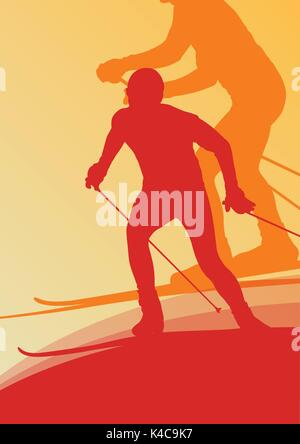 Skiing athlete competition vector abstract background concept - Stock Photo