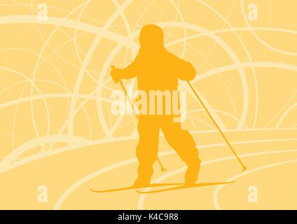Kid skiing training vector abstract background - Stock Photo