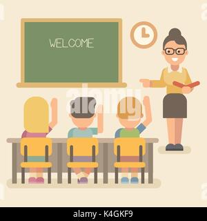 Young teacher with students on a lesson. Children raising hands. Welcome back to school - Stock Photo