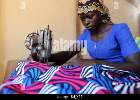 Tailoring workshop in Lome, Togo, West Africa, Africa - Stock Photo