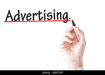 Hand writing Advertising with black marker on transparent wipe board background - Stock Photo