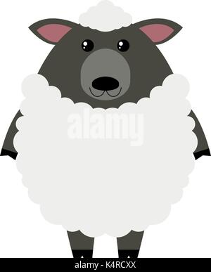 White sheep on white background illustration - Stock Photo