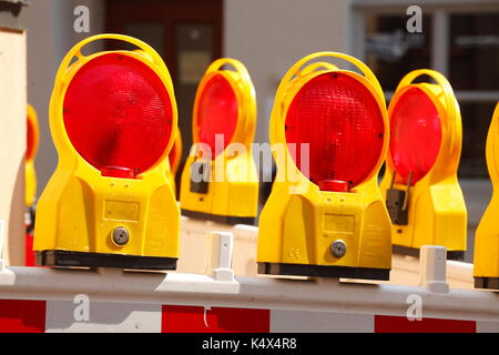 Flashing lights on a road barrier, construction site,  Leer (Ostfriesland), Lower Saxony, Germany, Europe - Stock Photo