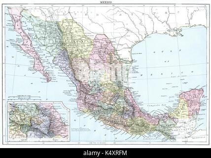 Antique map, circa 1875, of Mexico - Stock Photo
