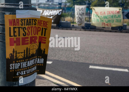 London, UK. 7th Sep, 2017. A notice advertising a week of protest against the DSEI arms fair at the ExCel Centre. - Stock Photo