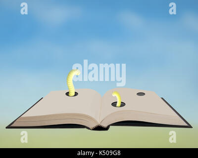 Hardback book with bookworms! Blurry bright background. - Stock Photo
