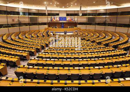 Hemicycle of the European Parliament in Brussels, Belgium. - Stock Photo