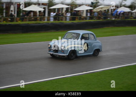 Austin A35 driven by Gordon Shedden; St Mary's Trophy; wet condition; Goodwood Revival 8th Sept 2017 - Stock Photo