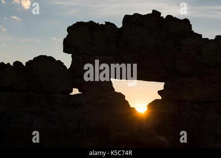 La Fenêtre de l'Isalo or Isalo windo, at sunset, Isalo National Park, Madagascar - Stock Photo