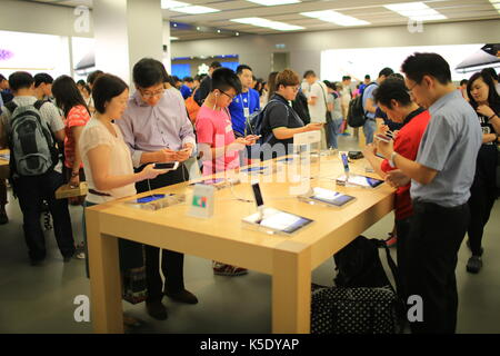 Apple iPhone six plus New launch in flagship of apple store in Festival Walk mall in hong kong - Stock Photo