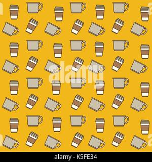 cups and disposable cup pattern colorful in yellow background - Stock Photo