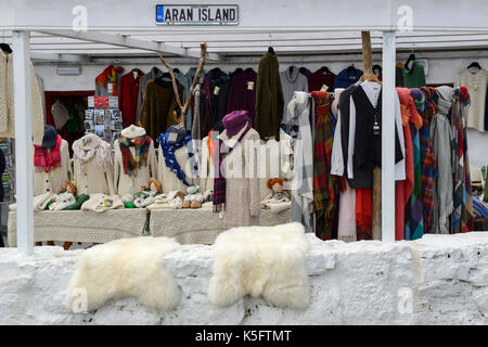 Shop selling Aran sweaters in Kilronan on Inishmore Island in the Aran Group, County Galway, Republic of Ireland - Stock Photo