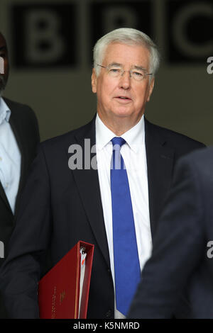 London, UK, 10th, Sep, 2017. Michael Fallon Secretary of State for Defence seen leaving the BBC after appearing - Stock Photo
