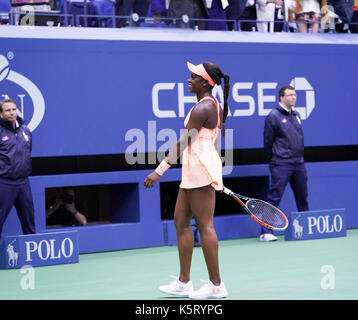 New York, United States. 09th Sep, 2017. Sloane Stephens celebrates victory against Madison Keys at US Open tennis - Stock Photo