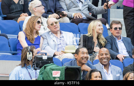 New York, NY USA - September 9, 2017: James Spader, Tracy Pollan, Michael J. Fox attend women final at US Open tennis - Stock Photo
