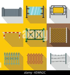 Sections of fence icon set, flat style - Stock Photo