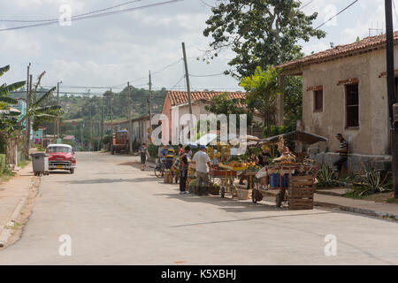 Havanna, - January 09, Travel, Havanna, Cuba, Vinales Tal . In the Picture: Marktstände mitten to der Strasse im - Stock Photo