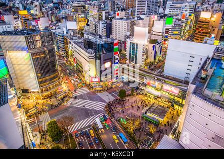 Shibuya, Tokyo, Japan cityscape over Shibuya Crossing. - Stock Photo