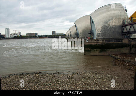 London, UK. 10th Sep, 2017. Thames barrier raised for annual test. Credit: JOHNNY ARMSTEAD/Alamy Live News - Stock Photo
