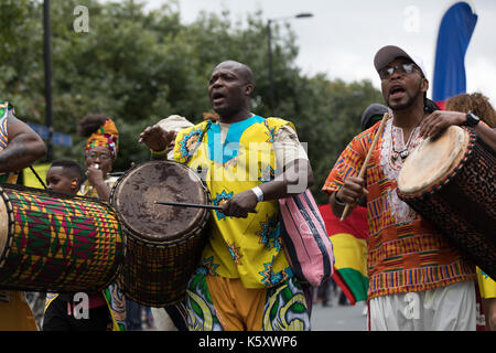 London, UK. 10th Sep, 2017. Dancers and performers take part in the Hackney One Carnival parade in Hackney, east - Stock Photo