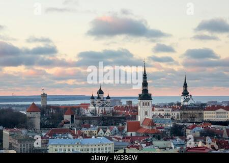 View over Old Town at dusk from the from Radisson Blu Hotel Tallinn on Ravala puiestee, Tallinn, Estonia, Europe - Stock Photo