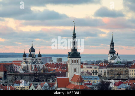 View over Old Town at dusk from the from Radisson Blu Hotel Tallinn on Ravala puiestee, Tallinn, Estonia, Europe - Stock Photo