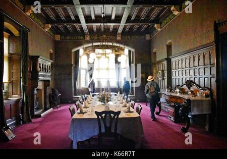 Dining Room at Knightshayes Court, a  Victorian country house near Tiverton, Devon, England, designed by William - Stock Photo