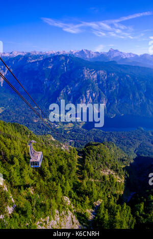 Aerial view on Lake Bohinj, Bohinjsko jezero and Mount Triglav from Vogel cable car hill station in Triglav National - Stock Photo