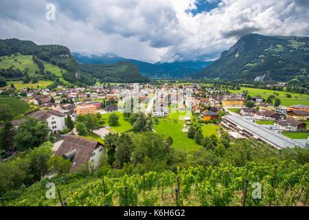 Landscape view on Balzers village in Liechtenstein - Stock Photo