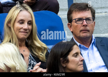 Tracy Pollan and Michael J. Fox, attend the 2017 US Open Women's Final - Stock Photo