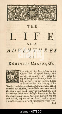 """'Robinson Crusoe' first page from """"The Life and Strange Surprising Adventures of Robinson Crusoe, or York, Mariner"""" - Stock Photo"""