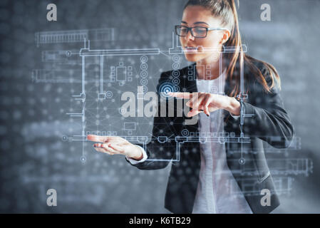 The person at the board of a financial dashboard of key indicators of stock market performance and business intelligence. - Stock Photo