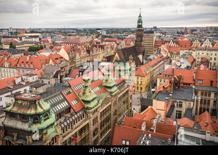 Aerial view of Wroclaw to the Old Town Hall at sunset in 2017, Wroclaw, Poland - Stock Photo